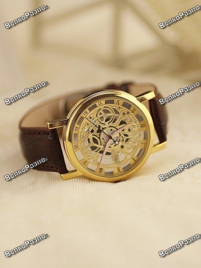 680c429e Купить сейчас - Мужские кварцевые часы стиль Skeleton с коричневым ...