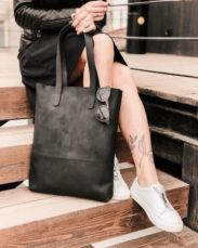 Кожаная сумка шоппер, стильная женская сумка для покупок