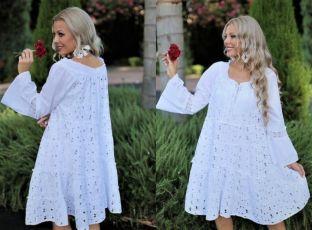 Женское летнее белое платье Испания миди хлопок кружево прошва 44 46