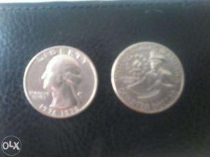 Монета quarter dollar liberty 1977-1976 года перевёртыш