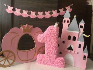 Фотозона для принцессы годик декор растяжка гирлянда