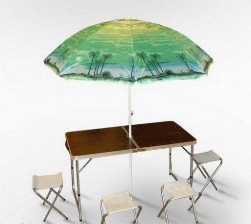 Стол для пикника складной + 4 стула + зонтик