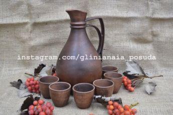 Набор глиняный кувшин + рюмки из глины, глиняная посуда для вина