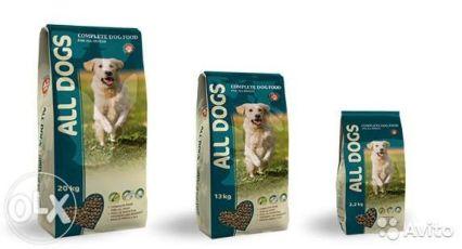 Корм для собак All Dogs 13кг/20кг. Корм для щенков All Puppies 20кг.