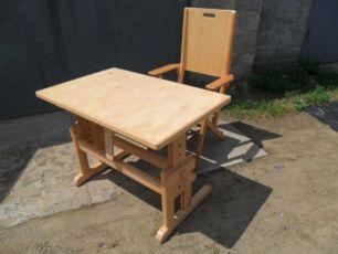 Новый стол-парта + складной стул для ребенка, натуральное дерево