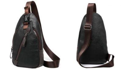 b138c80dec9a Мужская чоловіча спортивная кожаная сумка слинг рюкзак бананка купить 2 ...