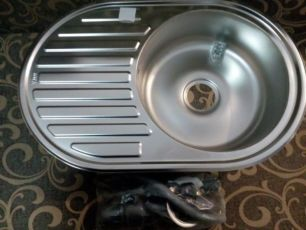 Мойка кухонная врезная Vior из нержавейки (декор) овальная 770Х550ММ