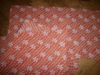 Ткань батист хлопок, апельсиновый цвет с белыми  листиками