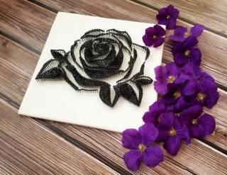 Картина из ниток, String Art черно-белая роза (стринг арт) 9