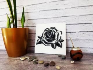 Картина из ниток, String Art черно-белая роза (стринг арт) 8