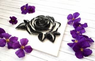 Картина из ниток, String Art черно-белая роза (стринг арт) 3