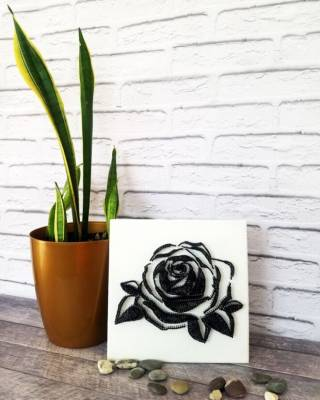 Картина из ниток, String Art черно-белая роза (стринг арт) 7
