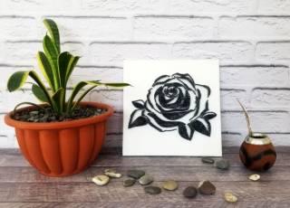 Картина из ниток, String Art черно-белая роза (стринг арт) 5