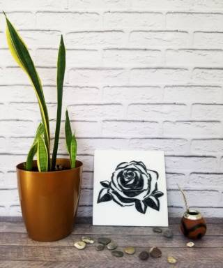Картина из ниток, String Art черно-белая роза (стринг арт) 6