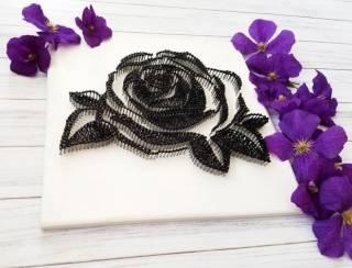 Картина из ниток, String Art черно-белая роза (стринг арт) 2