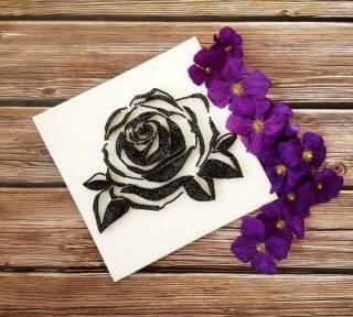 Картина из ниток, String Art черно-белая роза (стринг арт) 10