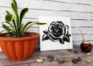 Картина из ниток, String Art черно-белая роза (стринг арт) 4