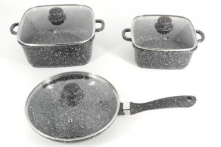 Набор кастрюль 6 предметов мраморное покрытие.Набор посуды