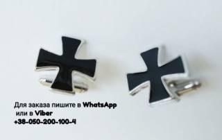 Запонки крест тамплиеров тезе запонки крестик с черной эмалью