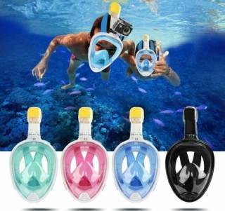 Полнолицевая панорамная маска для плавания FREE BREATH (X/XL) Black 6