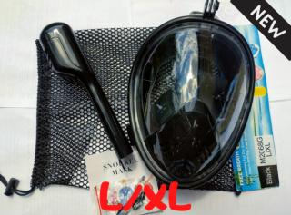 Полнолицевая панорамная маска для плавания FREE BREATH (X/XL) Black