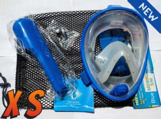 Детская полнолицевая панорамная маска FREE BREATH (XS)  Blue