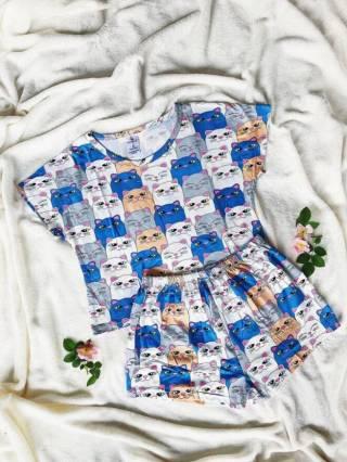 Трикотажная пижама с котами
