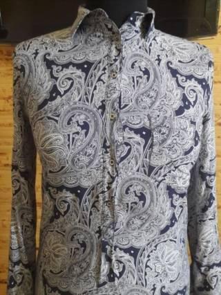 Платье-рубашка вискоза бело-синий огурец Oodji 2