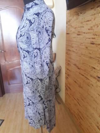 Платье-рубашка вискоза бело-синий огурец Oodji 3
