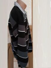 Модный свитер в полоску со встроченным рубашечным воротником р52 3