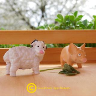 Деревянная игрушечная ферма для животных