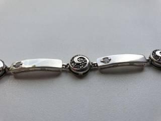 Серебряный браслет с круглыми вставками 2