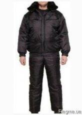 Костюм рабочий утепленный черный для охраны