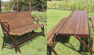 Скамейка садовая, мебель - трансформер: стол и две лавочки