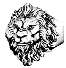 Кольцо из нержавеющей стали. Лев