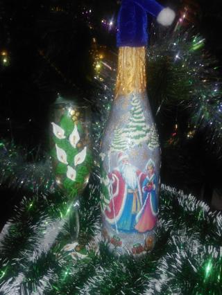 Декорирование   бутылок, ваз. 2
