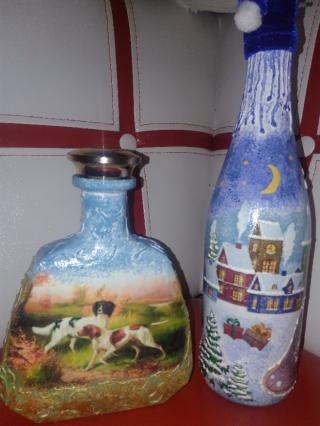 Декорирование   бутылок, ваз. 4