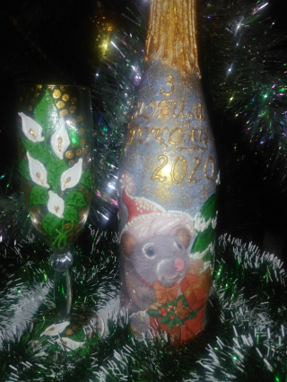 Декорирование   бутылок, ваз.