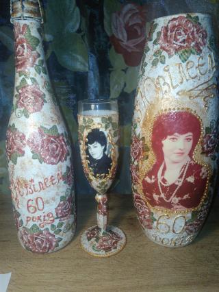 Декорирование   бутылок, ваз. 5