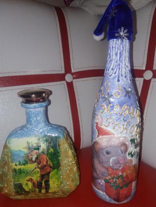 Декорирование   бутылок, ваз. 3