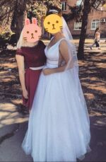 Свадебное платье из ткани с глиттером. В подарок свадебные туфли!!! 4