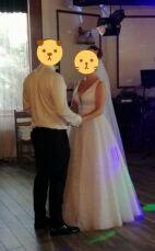 Свадебное платье из ткани с глиттером. В подарок свадебные туфли!!! 3