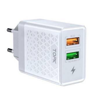 Сетевое зарядное устройство Topk Qualcomm Quick Charge 3.0 28W 2xUSB