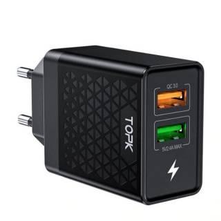 Сетевое зарядное устройство Topk Qualcomm Quick Charge 3.0 28W 2xUSB 2