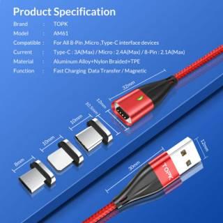 TOPK Магнитный кабель шнур зарядка+синхронизация данных AM61 (плоский) 5