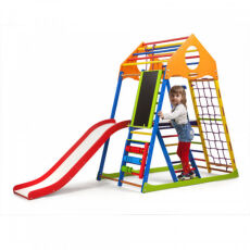 Детский деревянный спорткомплекс для квартиры «KindWood Color Plus 3» 2