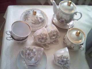 Сервиз чайный перламутровый с позолотой на 6 персон,Барановка,1980 г. 6
