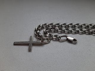 Срібний ланцюжок з хрестиком 925 проби.