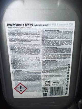 Масло трансмісійне 80W-90 MOL Hykomol K GL-5 10л=750гр 4
