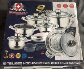НОВЫЙ набор посуды Swiss Inox SI-7017 / 19 предметов / 30 лет гарантия